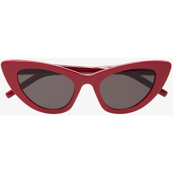 Saint Laurent Eyewear New Wave 213 Lily Cat-Eye Sunglasses (€250) ❤ liked on Polyvore featuring accessories, eyewear, sunglasses, red, red cat eye sunglasses, cat eye sunnies, cat-eye glasses, red cat eye glasses and cat eye sunglasses