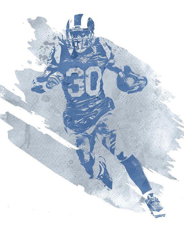Todd Gurley Los Angeles Rams Water Color Pixel Art 20 Art Print By Joe Hamilton Pixel Art Art Nfl Football Art