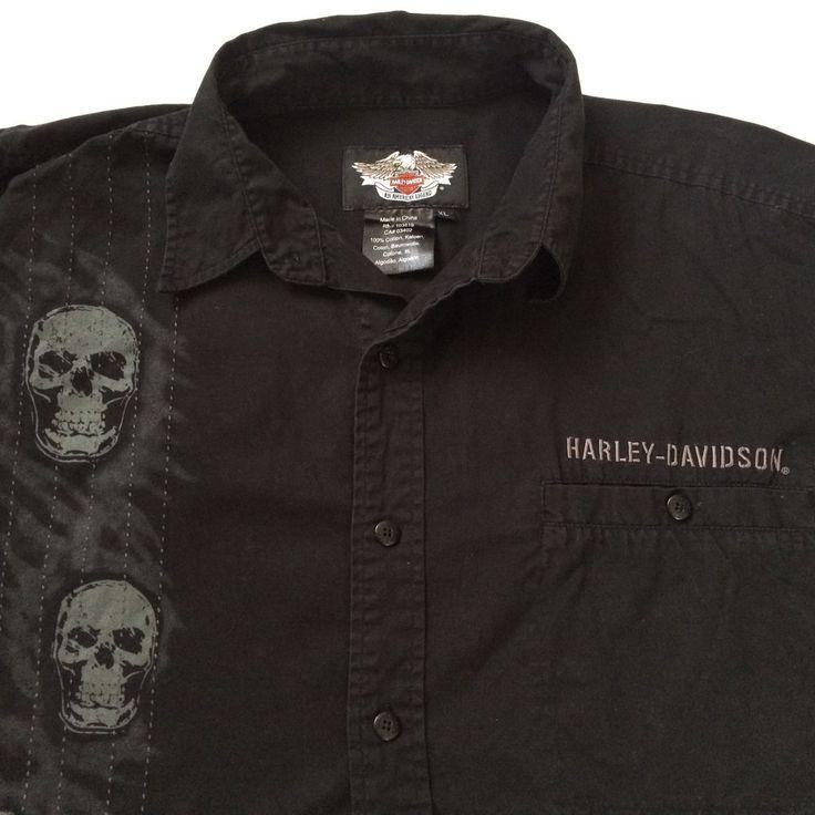 Harley-Davidson Button Up Shirt XL Black Skulls Long Sleeves 2008 #HarleyDavidson #ButtonFront
