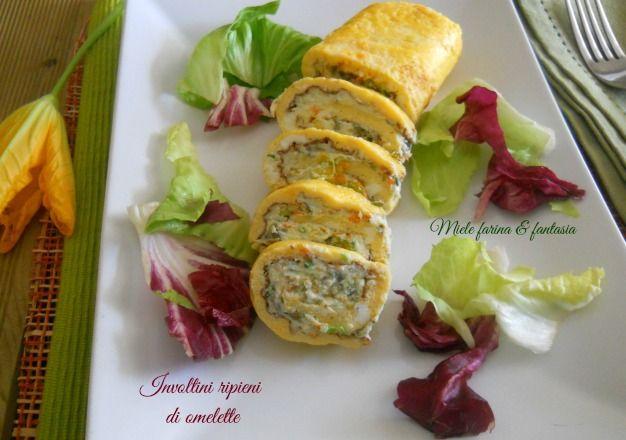 Omelette con crema di ricotta e fiori di zucca