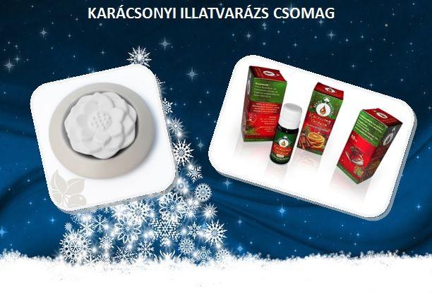 """Hogy ráhangolódj az ünnepekre... A """"Karácsonyi illatvarázs"""" csomag tartalma: 1 db hideg párologtató 1 db Karácsonyi varázs illóolaj-keverék, 100%-os illóolajokból http://fitotitok.unas.hu/spd/KAAJCSO_01/Karacsonyi-illatvarazs-csomag"""