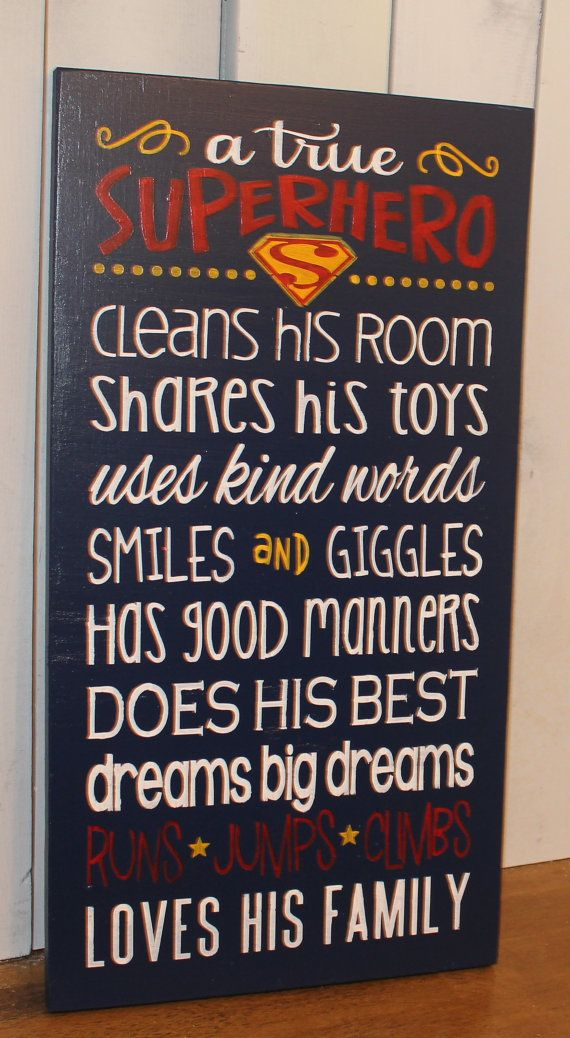 A true SUPERHERO/Subway Style/Boy Sign/Boy's Decor/Gift/Crown/Ready to Ship/Blue/Navy Blue/Red/Yellow on Etsy, $34.95