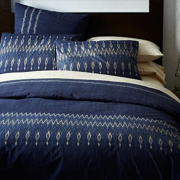 Organic Indigo Ikat Stripe Duvet Cover + Shams #westelm  Need to get this one soon.  My comforter is just chilling in the dry cleaner bag right now.