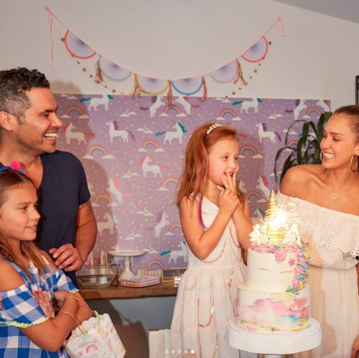 """Jessica Alba and Cash Warren treated their youngest daughter Haven to a unicorn-filled birthday party to celebrate turning six. The mom, who is pregnant with her third child wrote on Instagram, """"Havie's bday party last weekend was inspired by one of our @honest training pant prints-- you can literally find inspo anywhere. Link in bio to read and see all the magic!"""