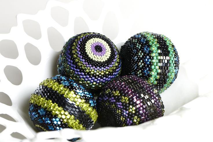 Bowl of beaded balls from The Beaded Egg at Etsy