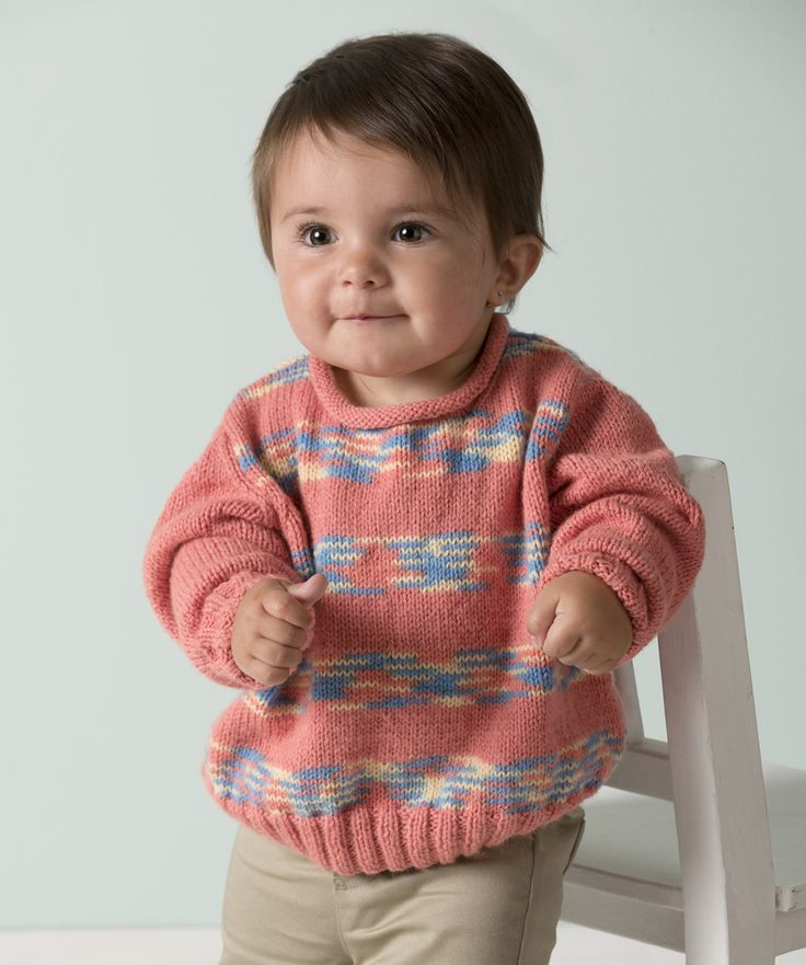 Mix solids and multis in this easy knit sweater. It's perfect for the active, playful baby!