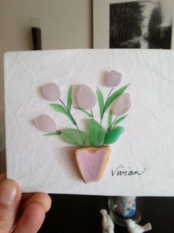 Seaglass flowers in vintage ceramic vase art