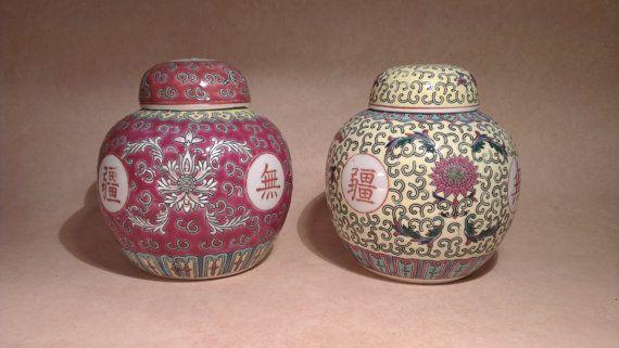 Vintage Chinese Porcelain Jars, Traditional Chinese Jars, Longevity Decor Lidded Jars, Chinese Candy Jars, Ginger Jars