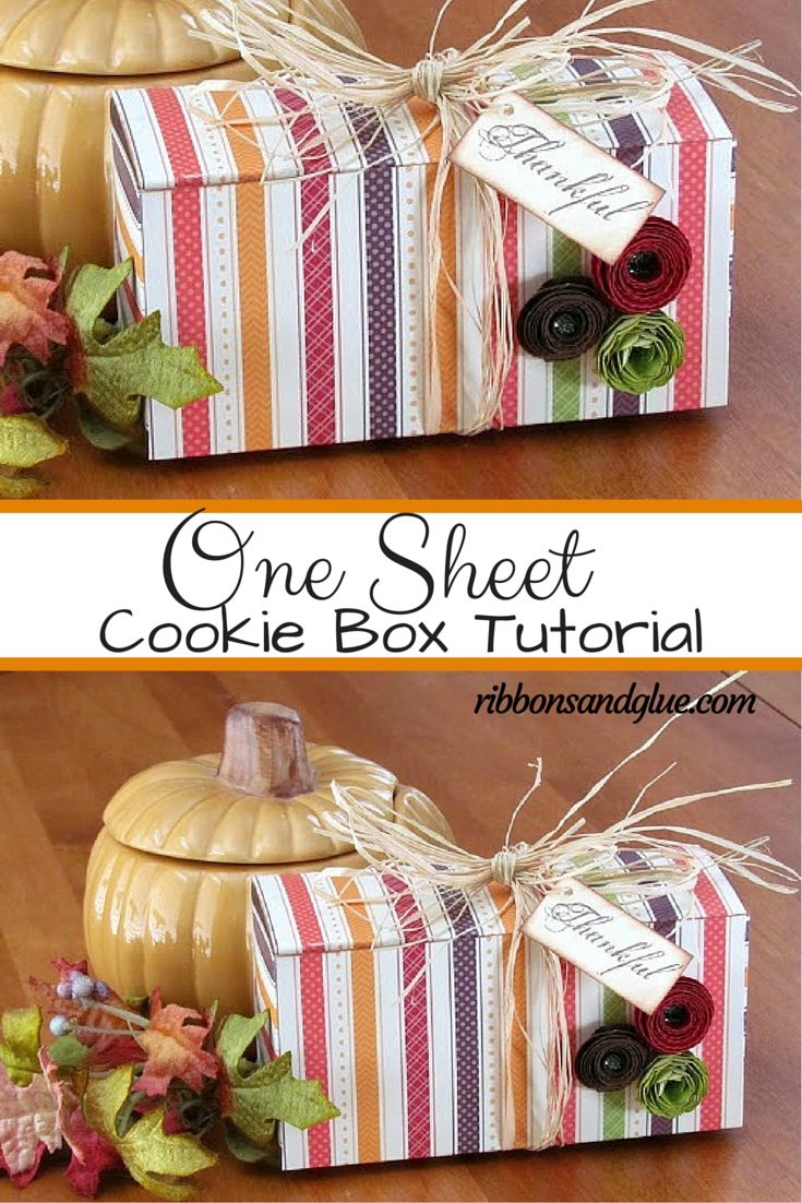 Give your homemade treats in this easy One Sheet Cookie Box. All you need is one sheet of 12 x 12 patterned paper and a Score Board!