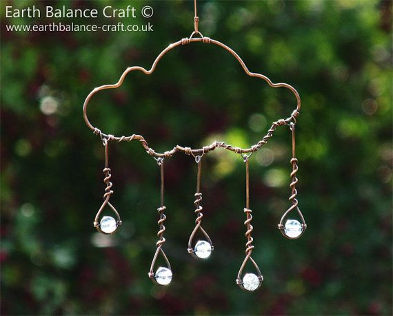 Suncatcher, Rain Cloud, Glass Rain Drops, Cloud Mobile, Copper Wire Art, Garden…