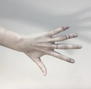 Linear finger tattoos by Shpadyreva Julia