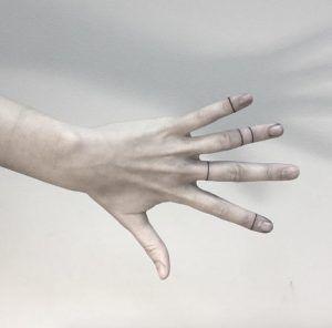 Linear finger tattoos by Shpadyreva Julia