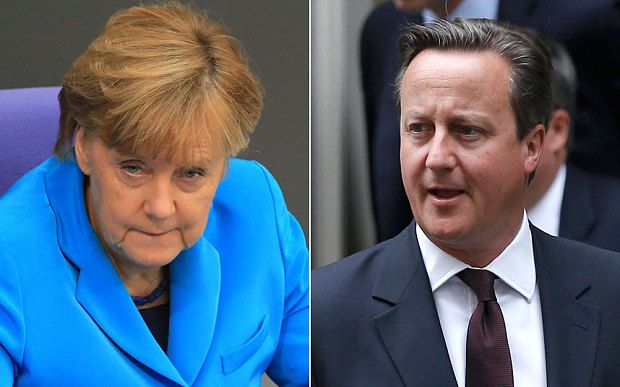 9/12/2015 Angela Merkel will expect David Cameron to drop his opposition to an EU army,and to back EU army in exchange for renegotiation.German chancellor will ask UK to stand aside  as she promotes ambitious plan to inter-grate continental Europe's armed forces