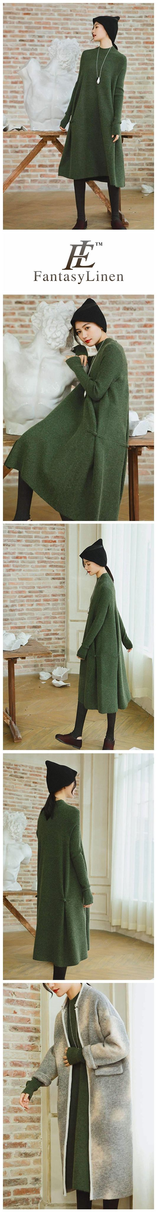 Thick Wool Maxi Green Sweater Dresses For Women Clothes,Winter Party Dress Q2711