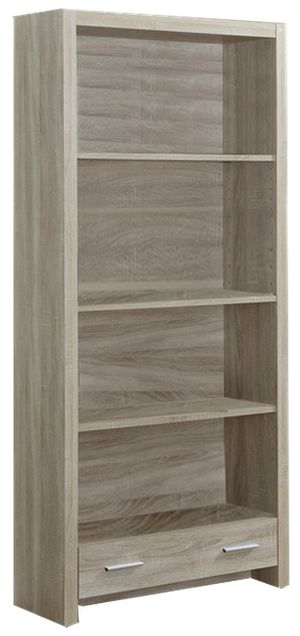 Monarch Specialties I 7085 71-in Bookcase with Drawer, Natural Reclaimed