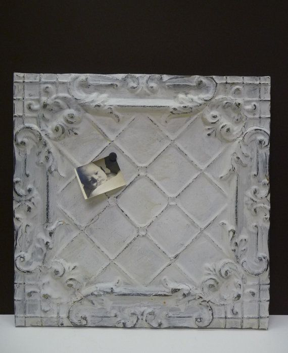 Antique tin ceiling tile Magnet message board Large chippy white decorative panel Re-purposed salvage