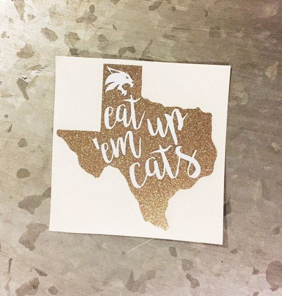 GLITTER Texas State Bobcat Decal Yeti Decal by CircleLDesigns