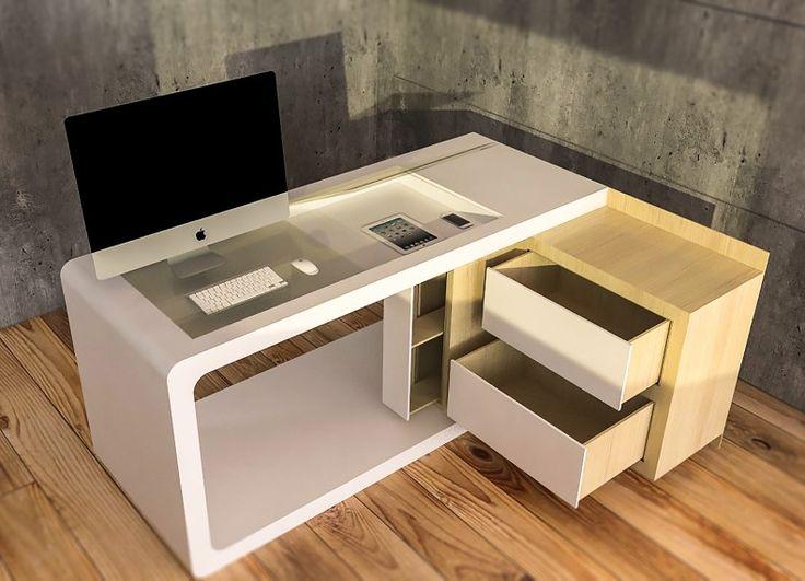 """Formabilio - """"Clack è una scrivania pensata per il lavoratore """"dinamico"""". Composta da due blocchi semplici, una """"c"""" ed un cubo """"scavato"""", è un arredo flessibile ed espandibile, grazie al perno snodato che unisce i due volumi. La """"c"""" bianca costituisce il piano di lavoro e consta di un vano rettangolare, ricoperto da due ante in vetro apribili, che permette l'alloggiamento di libri, riviste, cancelleria, ma sopratutto mobile devices, ricaricabili attraverso due fori passacavi che attraversano…"""