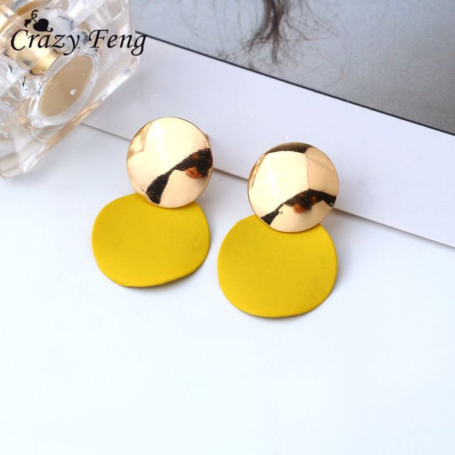 Korean Style Womens Dangle Drop Earrings Fashion Jewelry Gold Metal Round  Pendientes Geometric Earrings 2018 Feeme 94e937d3ea61
