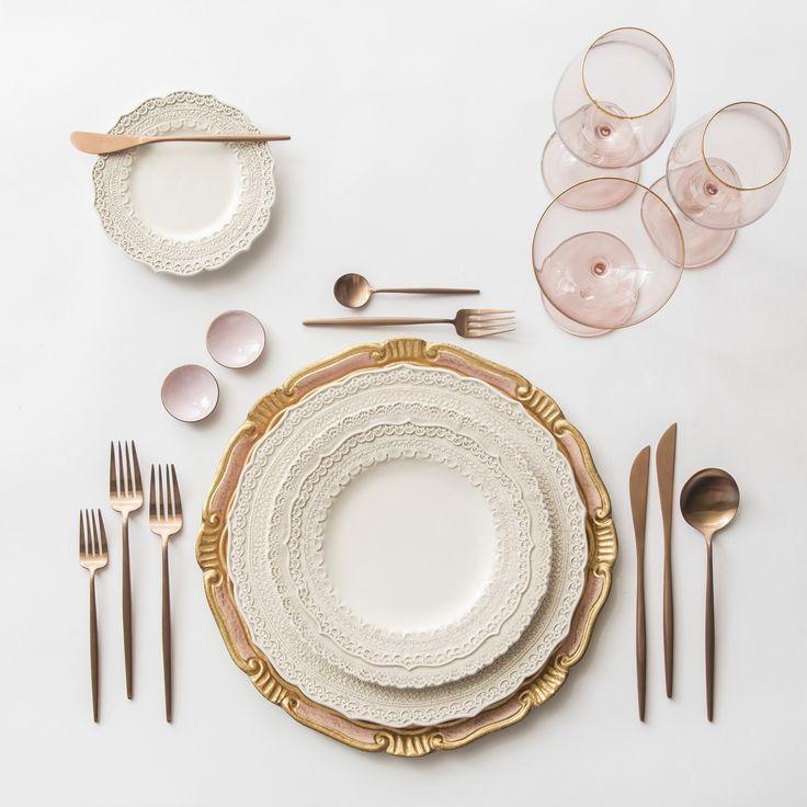 Light Pink & Gold Florentine Charger + White Lace Dinnerware + Moon Flatware in Rose Gold + Pink Enamel on Copper Salt Cellars + Chloe Gold Rimmed Stemware in Blush | Casa de Perrin Design Presentation