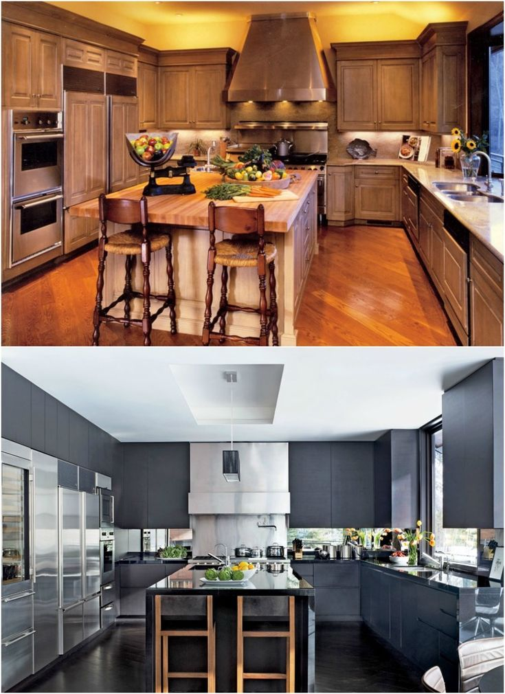 idée de relooking cuisine bois - remplacez les armoires de bois par des armoires à façade grise moderne