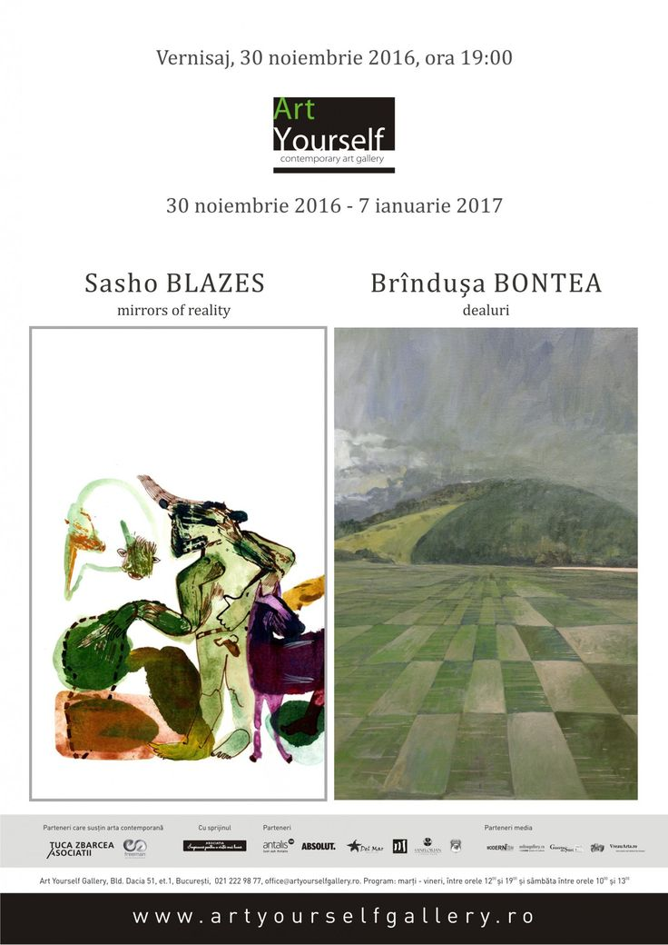"Art Yourself Gallery : Sasho Blazes – ""Mirros of reality"" & Brindusa Bontea  – ""Dealuri"" http://bit.ly/2gbSfXG"