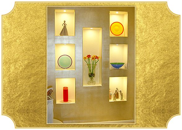Faux platinum display feature wall. Residential Projects | Residential Gilding Projects | Art Gilding http://www.artgilding.com.au