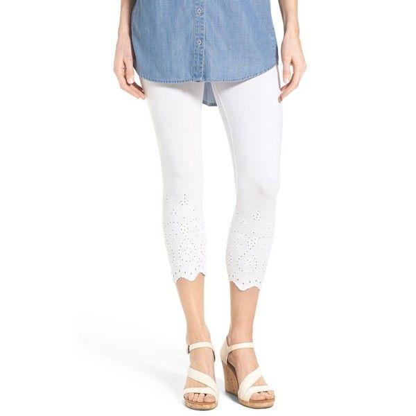 Hue Eyelet Trim Capri Leggings (605 MXN) ❤ liked on Polyvore featuring pants, leggings, white, cotton capris, white capri leggings, white leggings, white capris and leggings capri