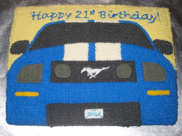 Mustang Birthday Cake - The horse emblem and license plate are made of fondant.