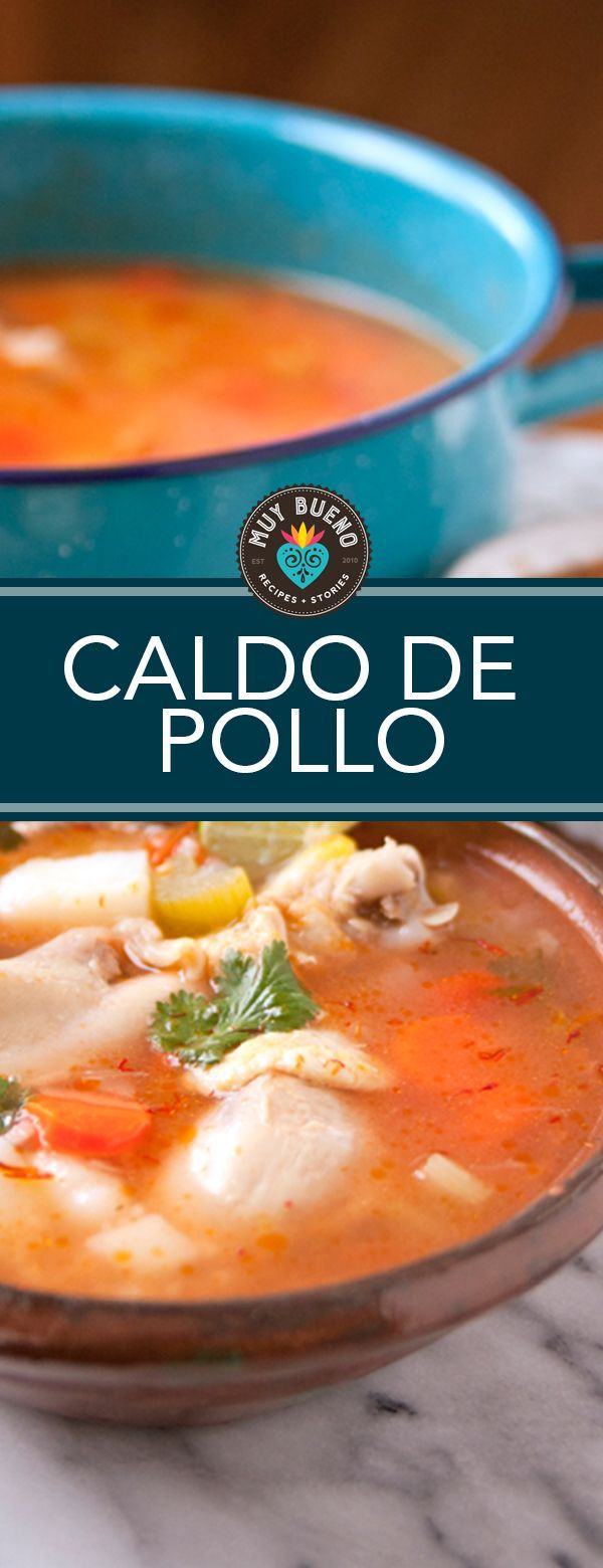 Caldo de Pollo (Homemade Chicken Soup) - Muy Bueno Cookbook     Caldo de pollo is medicine for the soul. Its one of my favorite soups and so simple to make. It freezes well, which comes in very handy when you are not feeling well, and need comforting. This soup can also be made on a busy weeknight, especially during the holiday season when you already have a lot on your plate. I love to top my hot bowl of soup with salsa casera and fresh lime juice.