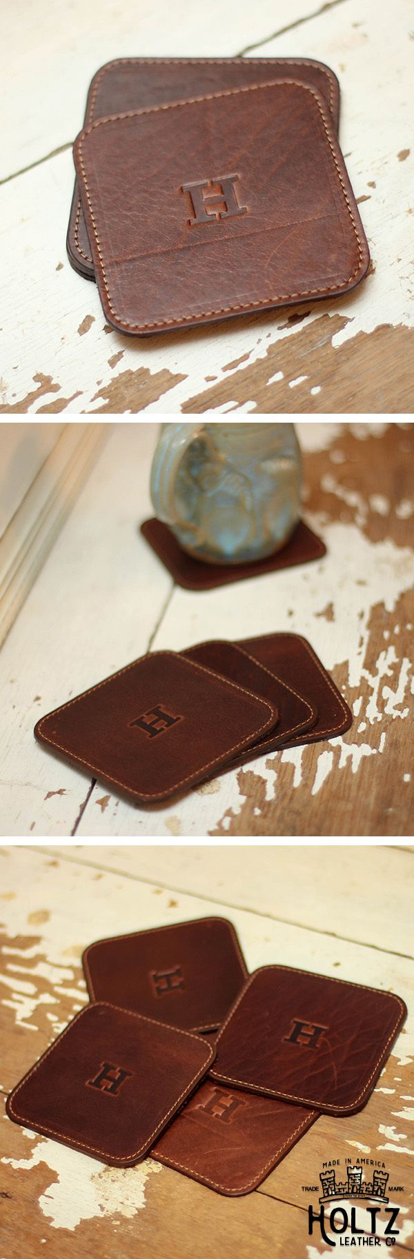 The Ranch House Fine Leather Coaster Set is handmade right here in our shop with the finest of Full Grain American leathers. We hand pick our leather hides from a local tannery ~ for a rustic look and feel. This is a gift that will be used and loved for a lifetime!