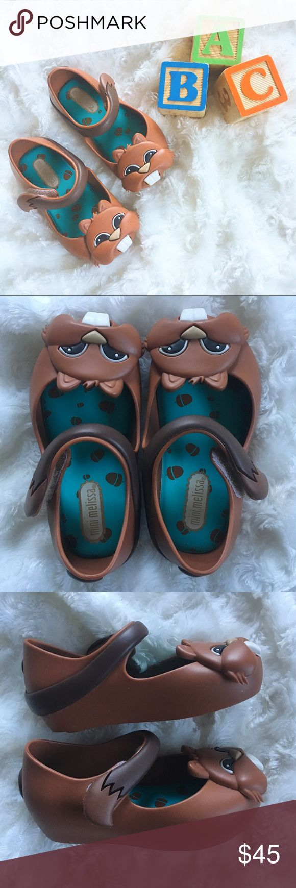 NWOT Chipmunk Mini Melissa Mary Janes Chipmunks!🐿 🐿 Brand new, never been used Mini Melissa Chipmunk Mary Jane shoes. Please note there is a small scratch on the front of one shoe, and a small black mark on the side of the other shoe (had marks when I bought them from Nordstrom, marks are shown in pictures☝️) Toddler size 6. And they smell like STRAWBERRIES!🍓🍓🍓  🎀Reasonable offers only please, no trades 🎀Price is FIRM when on FLASH SALE 🎀Any questions? Ask!  🎀Zoom in on pictures…