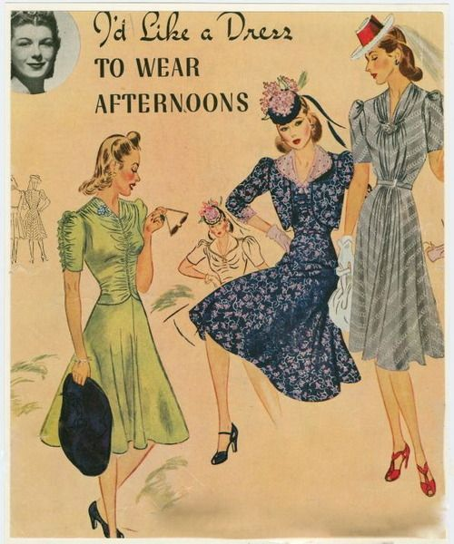 Afternoon dresses, 1940