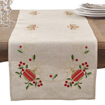 """The Holiday Aisle Rectangular Embroidered Ornament Holiday Linen Blend Table Runner Size: 16"""" L x 72"""" W"""