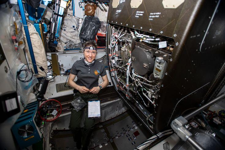 While Orbiting Earth On 29 October 2019 Nasa Astronaut Christina H Koch Works On Orbital Plumbing Tasks As S International Space Station Nasa Nasa Astronauts