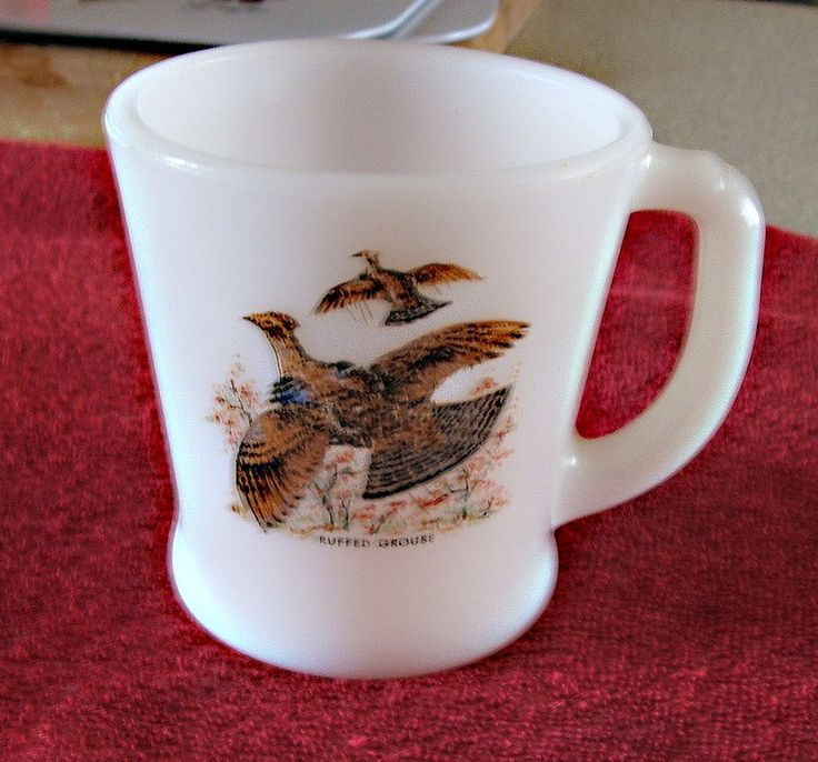 "Vintage FireKing Cup ""Ruffed Grouse Motiff"" by ThriftyMidge on Etsy"