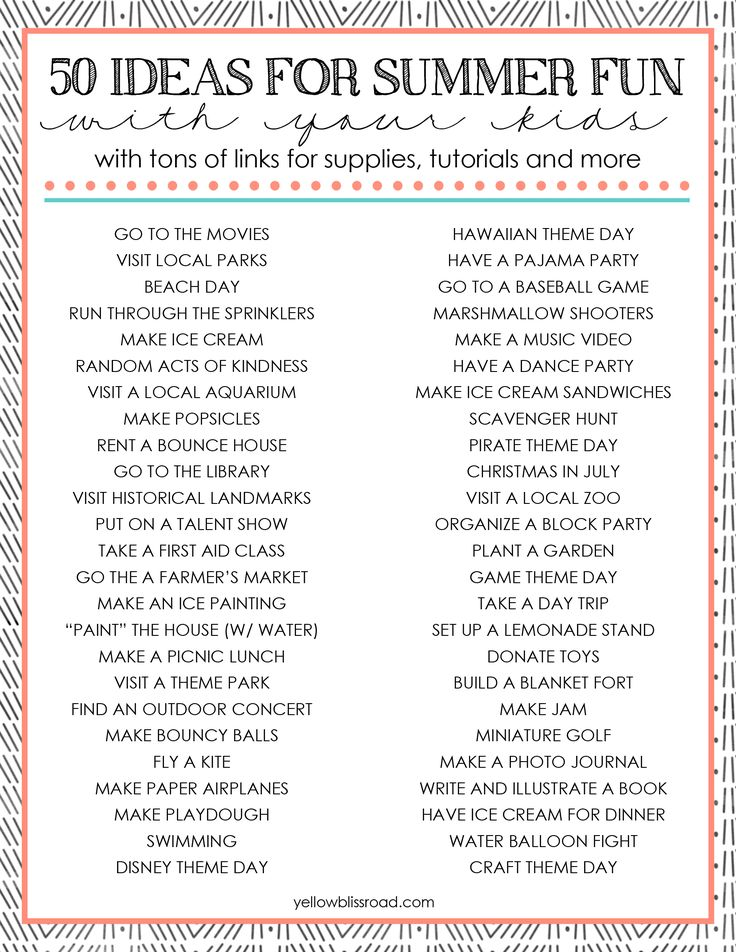 50 Ideas for Summer Fun with Your Kids with Free Printable!