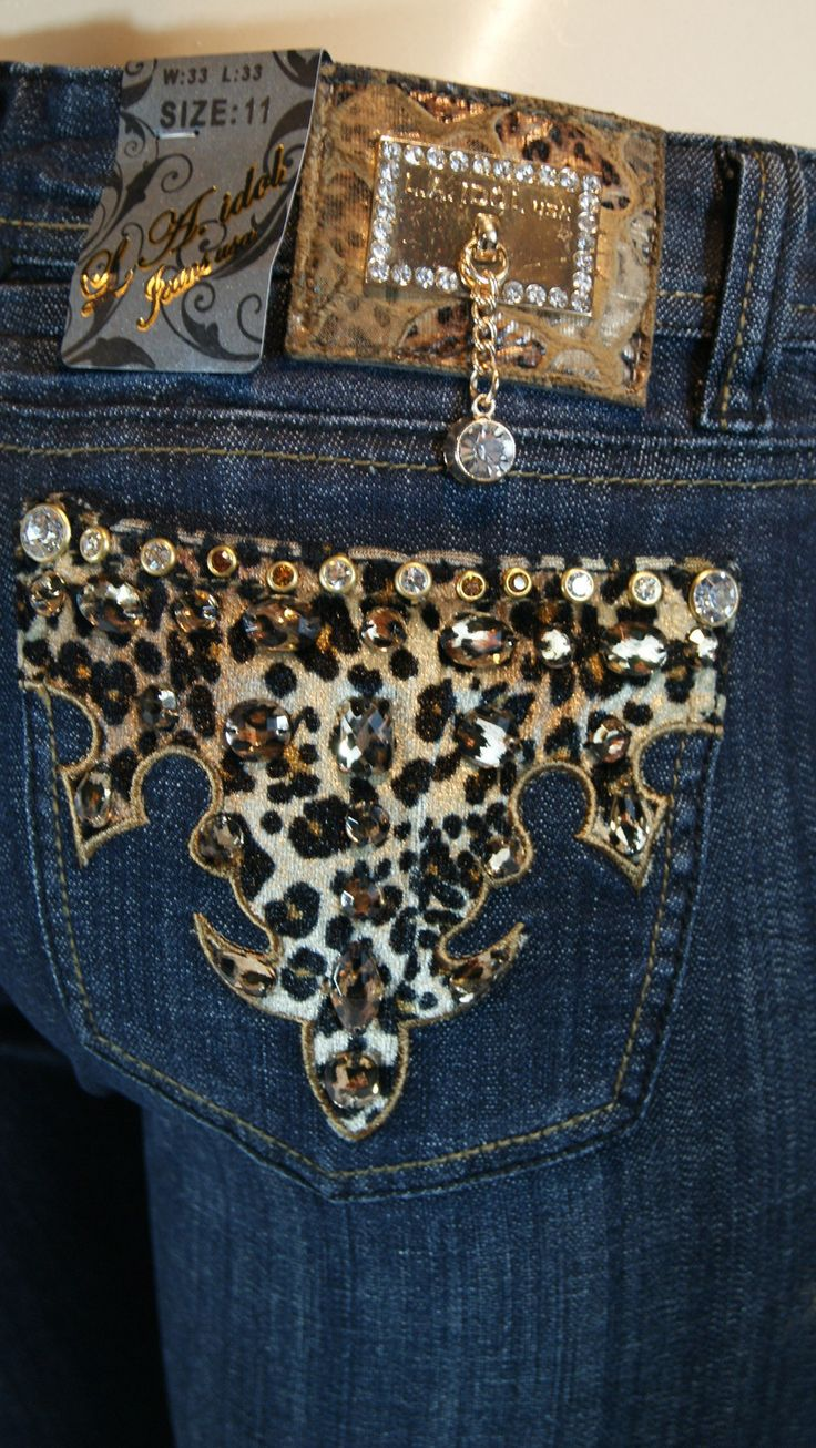 La Idol Leopard Print Bling Jeans. Omg I wear LA Idol pants, why have I not found these?