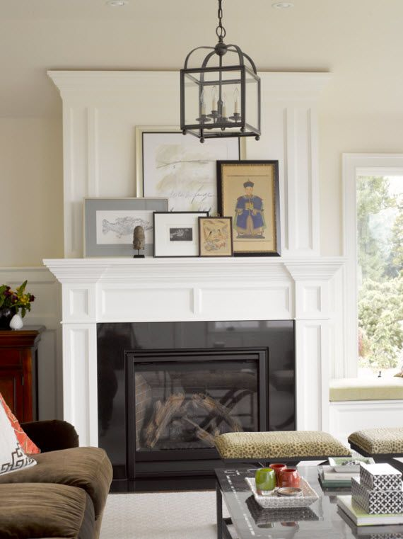 traditional living room & fireplace with lantern // Graciela Rutkowski