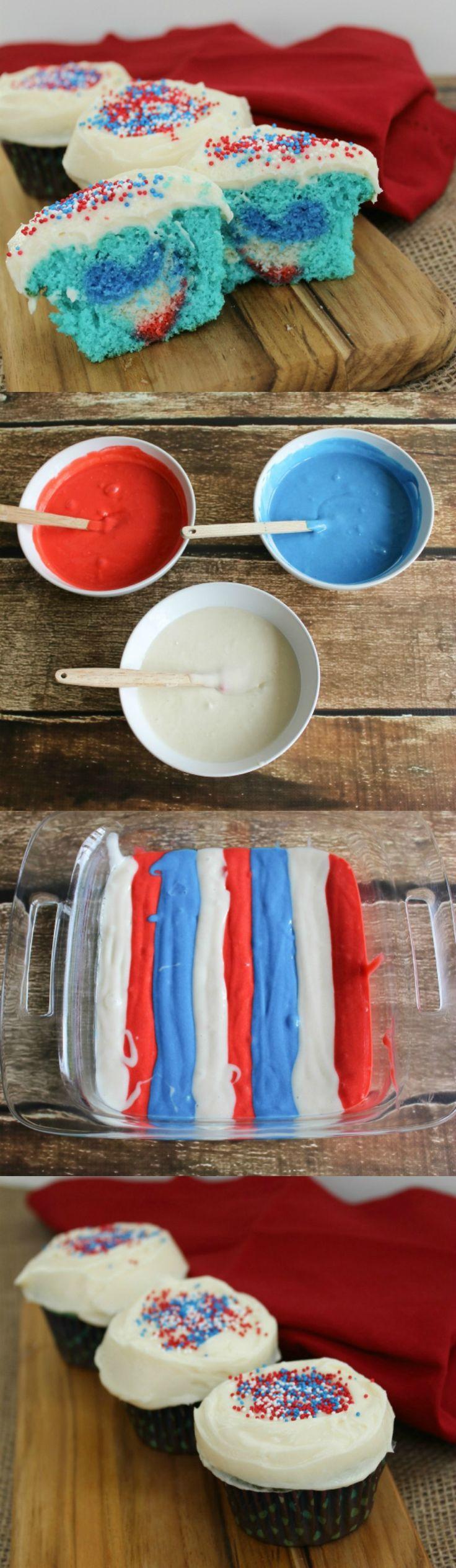 Patriotic Cupcake tutorial for a surprise heart inside.