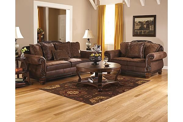 tan couch living room decor cowhide rug in modern the bradington sofa from ashley furniture homestore (afhs ...