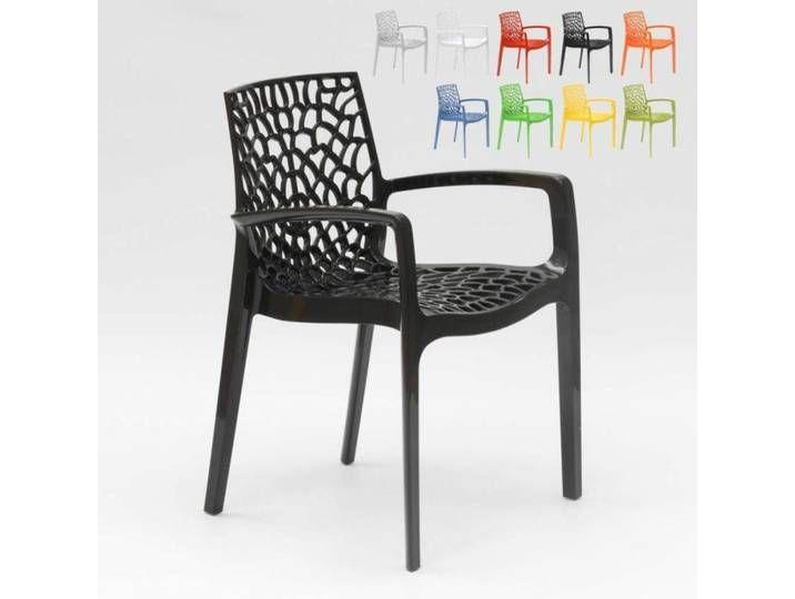 4 Outdoor Gartensessel Gartenstühle schwarz stapelbar Stapelstühle Armlehnstühle
