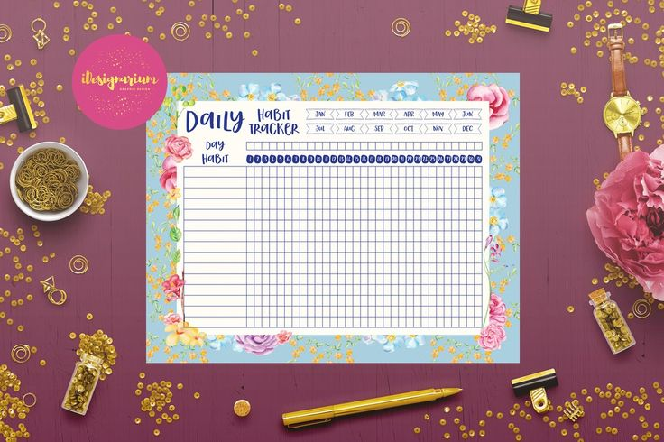 Free Printable Daily Habit Tracker from Creative Print Designs {newsletter subscription required}