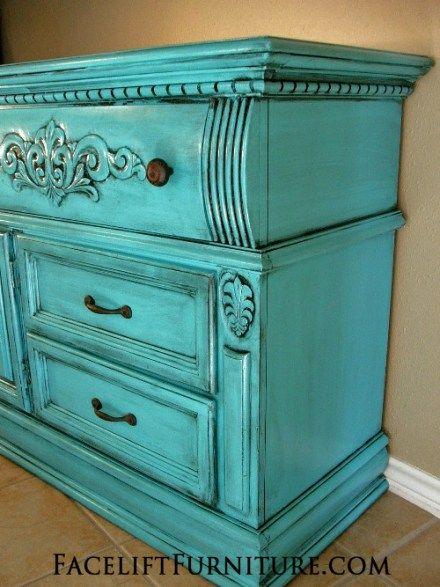 Turquoise Dresser Glazed Black Before After
