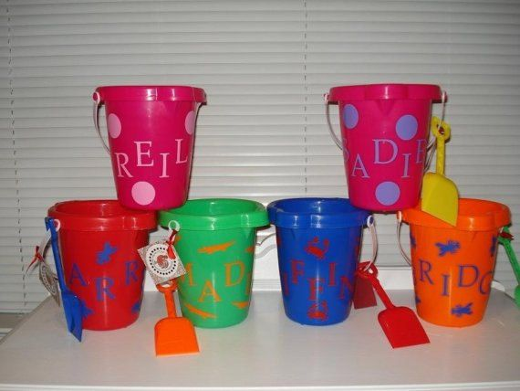 Monogrammed Easter Basket/ Sand Bucket by thecalicochicken on Etsy, $10.00
