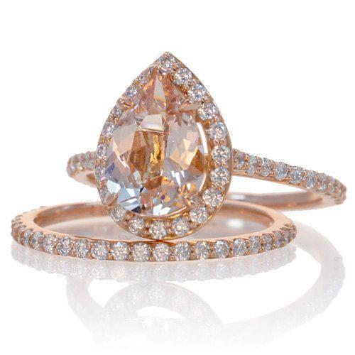 Bridal Set with matching band 14K Rose Gold Pear Cut Shape Diamond Halo Morganite Engagement Solitaire Wedding Anniversary Gemstone Ring. $1,650.00, via Etsy.