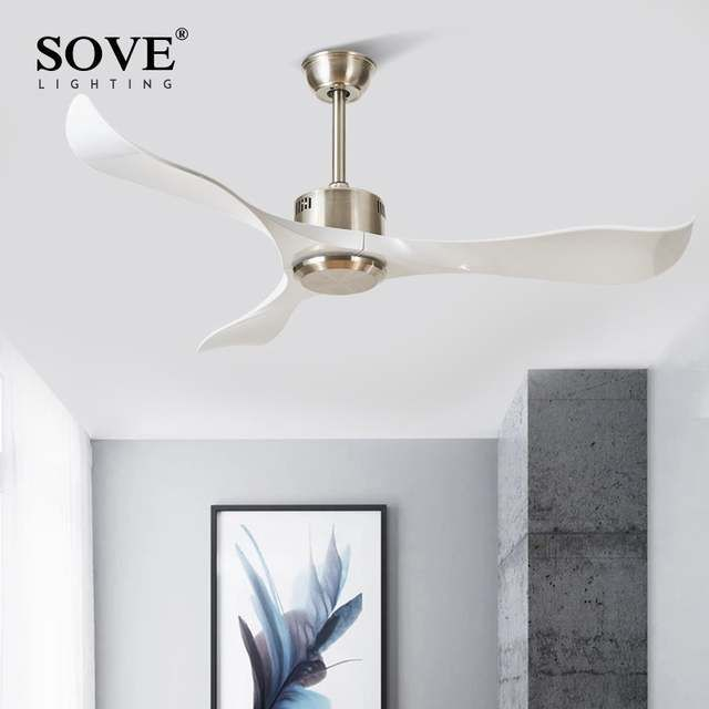 Online Shop Sove Modern Ceiling Fans Without Light Remote Control White Plastic Blade Bedroom 220v C Modern Ceiling Fan Ceiling Fans Without Lights Ceiling Fan Contemporary white ceiling fan