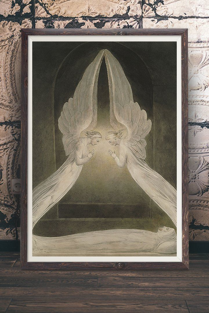 Angels Rolling Away The Stone Painting By William Blake Vintage Wall Art With A Story At Ret Vintage Wall Art Vintage Wall Art Prints Vintage Art Paintings