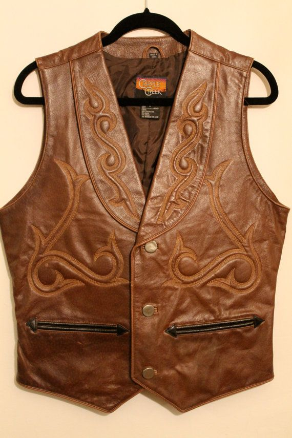 Steampunk Brown Leather Western Vest by NeedlesnPinsVintage on Etsy, $90.00