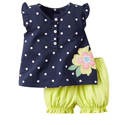 Baby M�dchen Bekleidungsset,Tupfen-sleeveless das T-shirt die Kurze Hose (90(1-2Y), Dunkelblau)